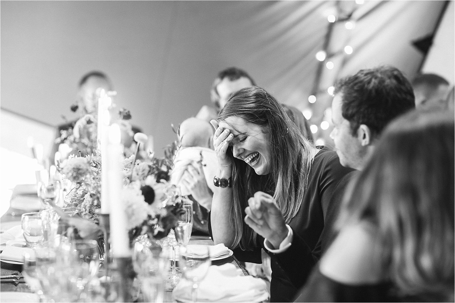 Guests reaction to speeches at North West tipi wedding