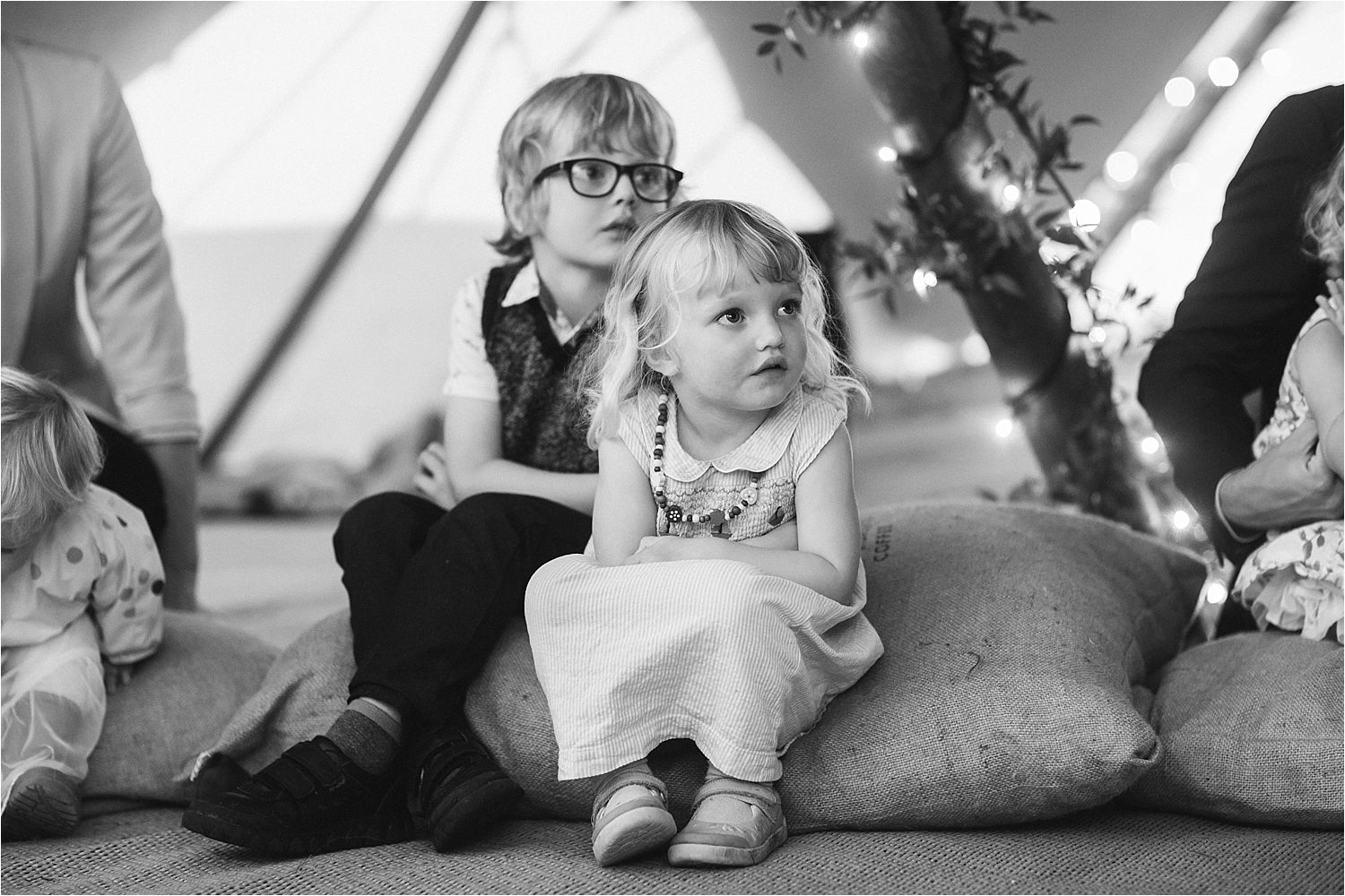 Child guests at Manchester tipi wedding reception party