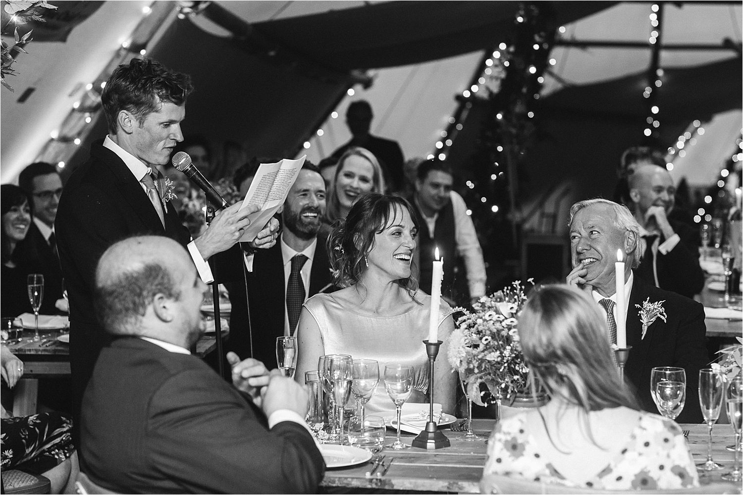 Speeches at rural tip wedding reception, Manchester