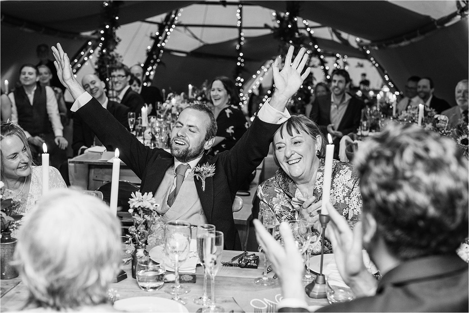 Bridegroom's reaction to best man's speech at Manchester tipi wedding