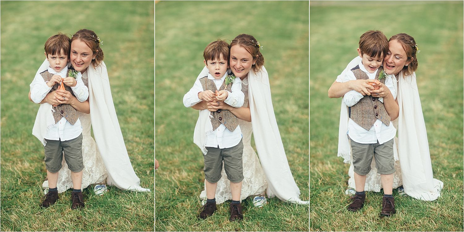 Bride with her son at Manchester tipi wedding