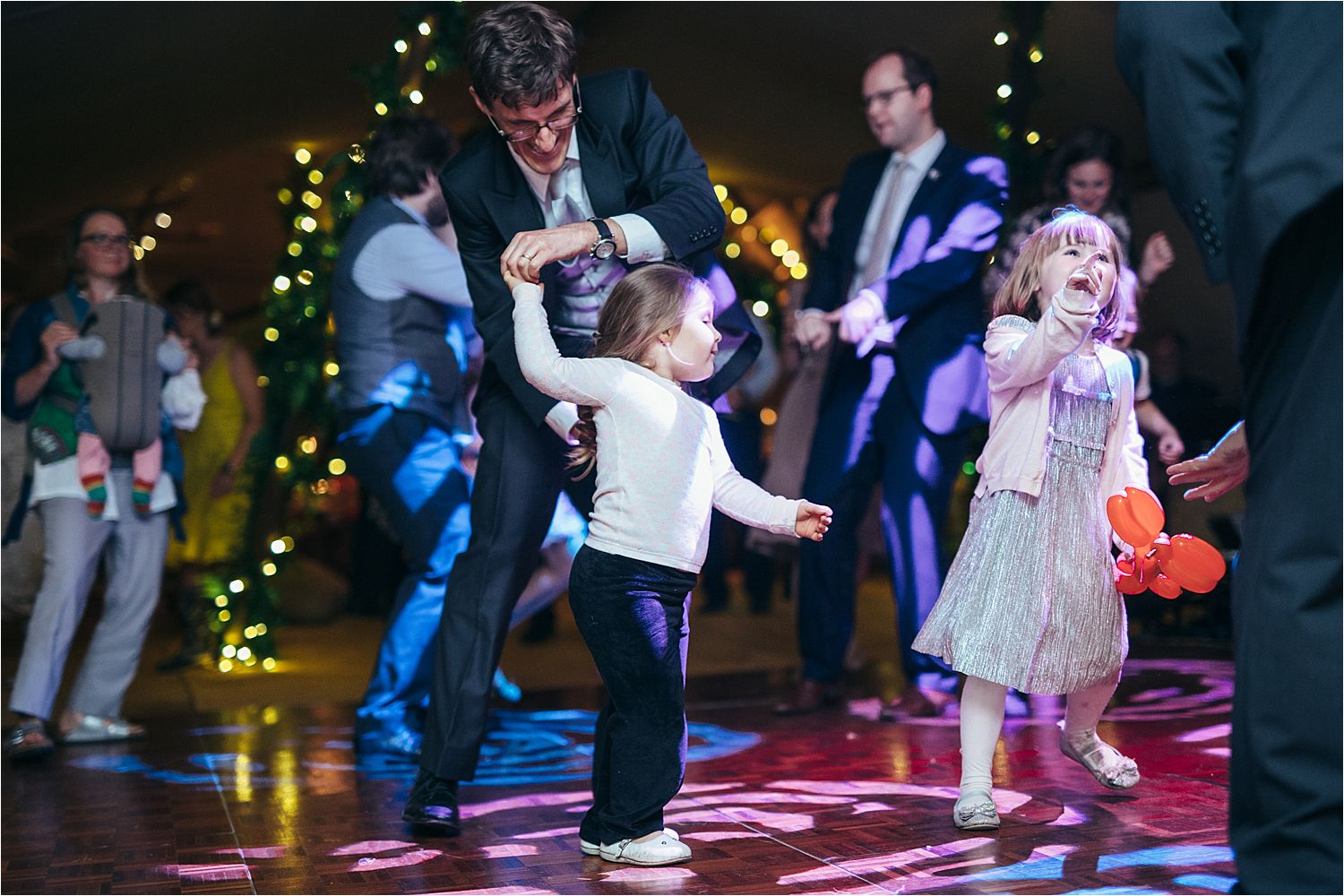Little dancers on the dancefloor of rural Manchester tipi wedding