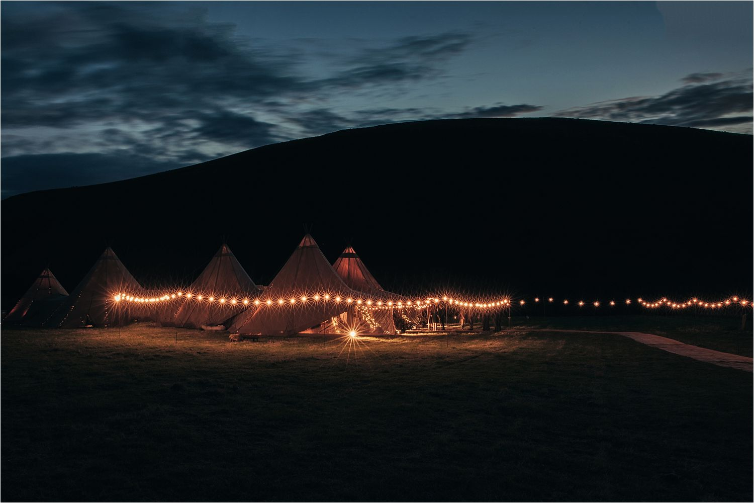 External panorama of wedding tipi in North West moorland landscape. Tipis by Big Chief Tipis, Bolton