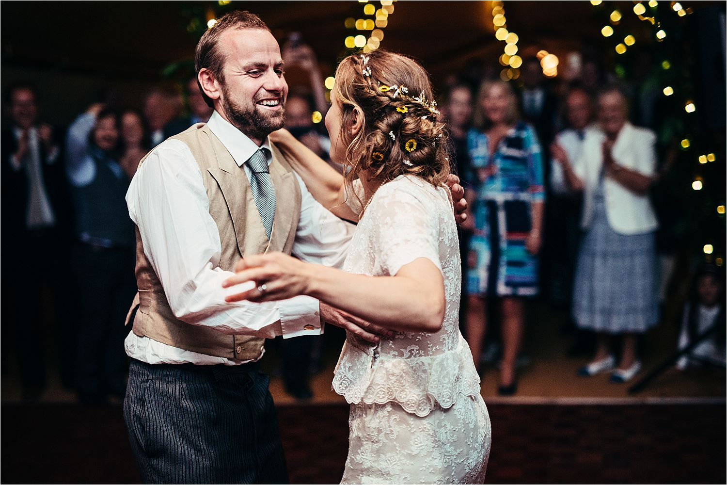 Bride and groom first dance at Manchester tipi wedding
