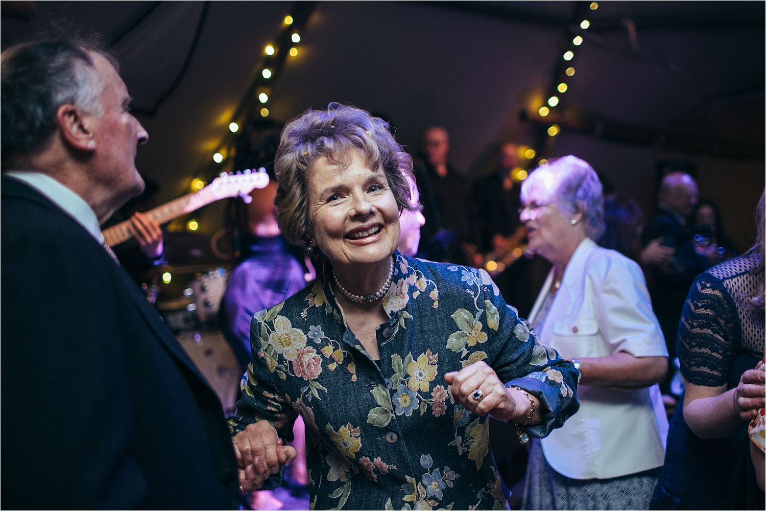 Guests dancing at rural Manchester wedding reception