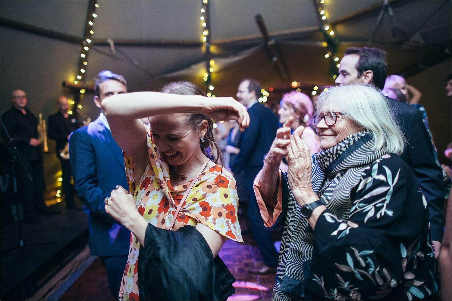 Dancing at evening reception at Rural Manchester wedding