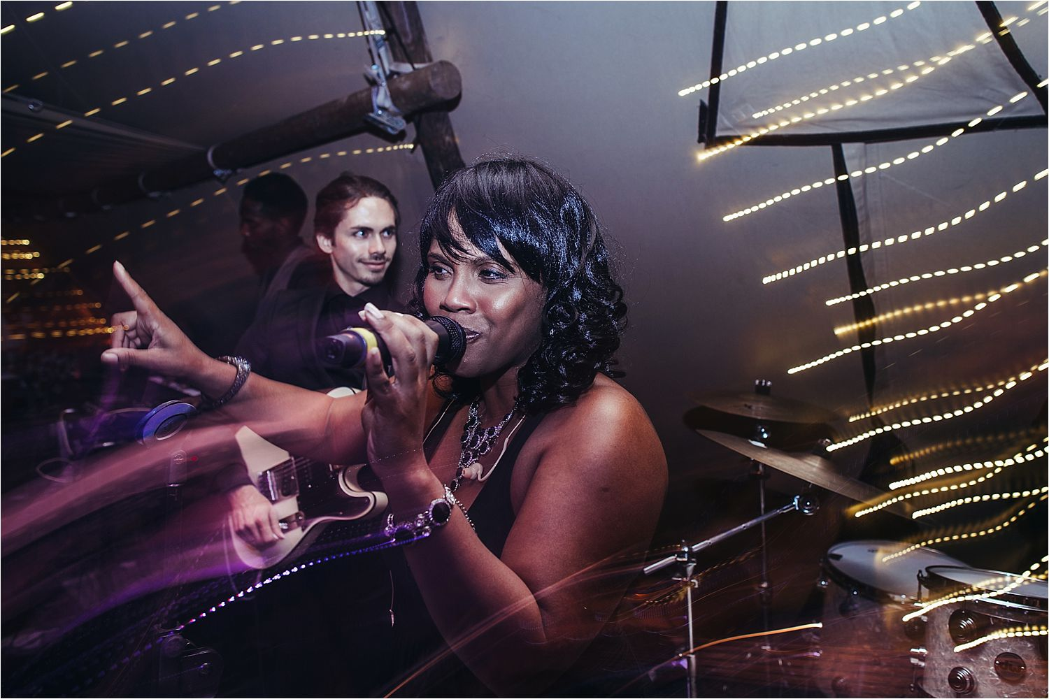 Female singer at Manchester tipi wedding, evening party
