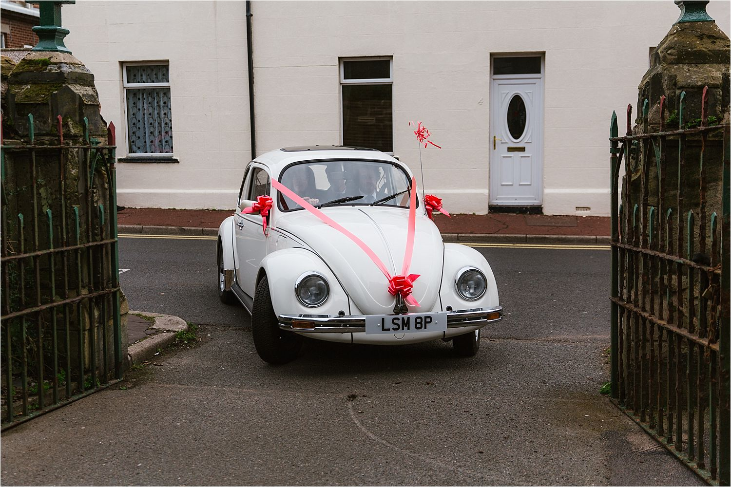 VW Beetle with ribbons as wedding car for Cumbrian wedding