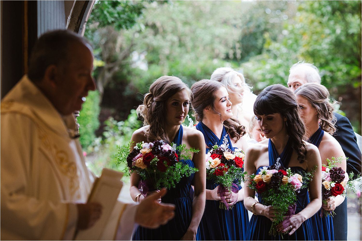 The bridal party outside the chutrch door. Bouquets by Deborah's Florist Barrow
