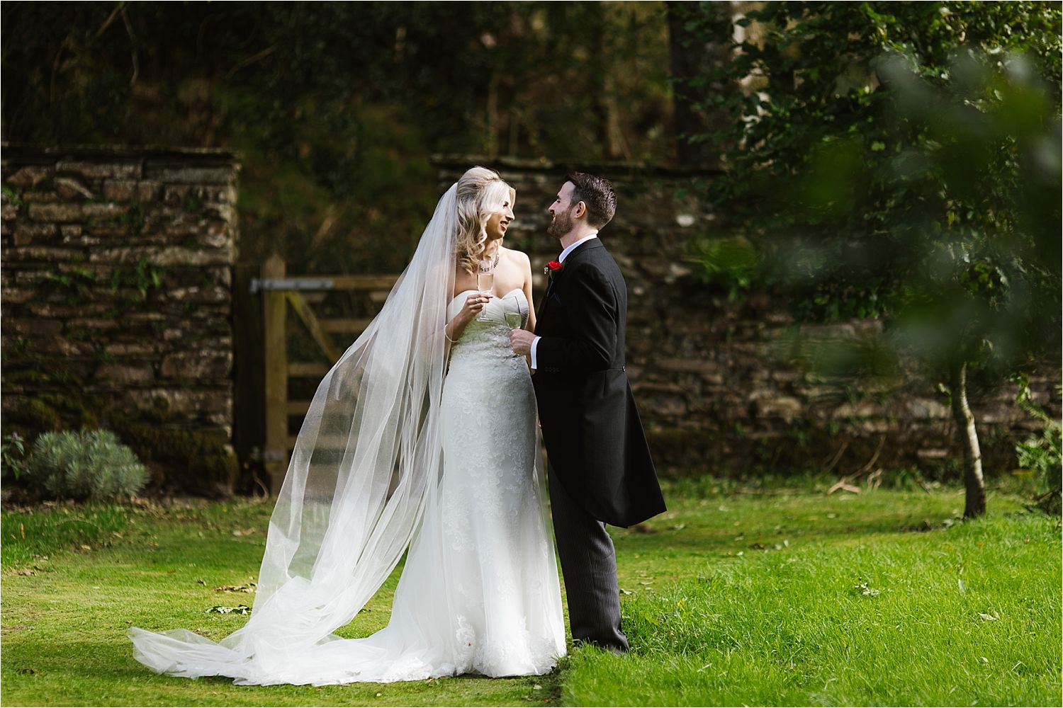 Wedding couple in the gardens at Belmount Hall