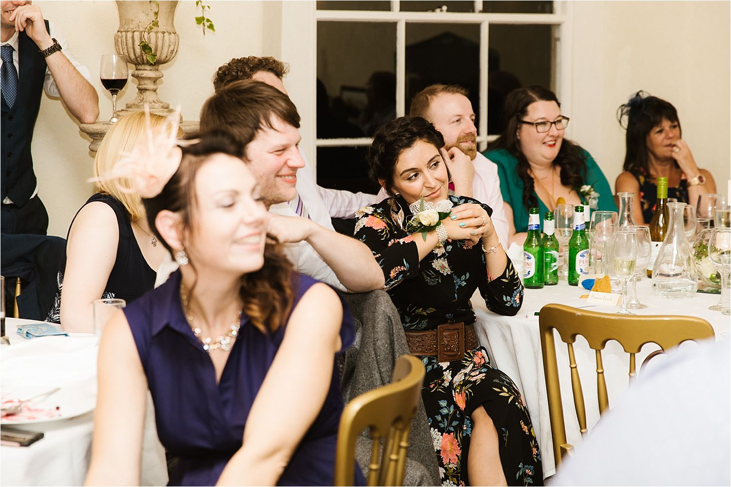 Guests reactions to Best mans's speech at Belmount Hall wedding