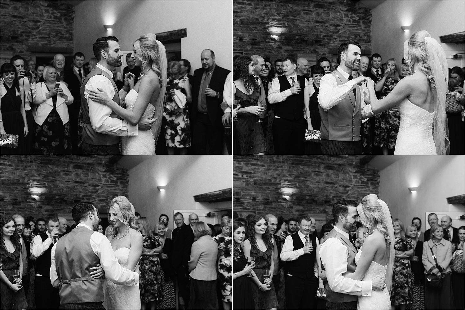 Bride and groom enjoying first dance at their Belmount Hall wedding