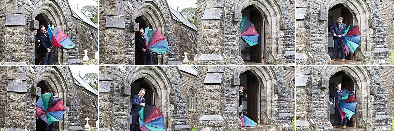 Groom trying to put an unbrella down on his wedding day when it was raining