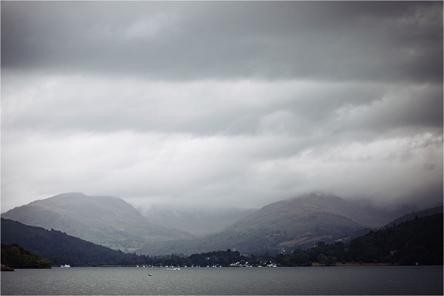Panoramic view of Lake Windermere on rainy Lake District wedding day