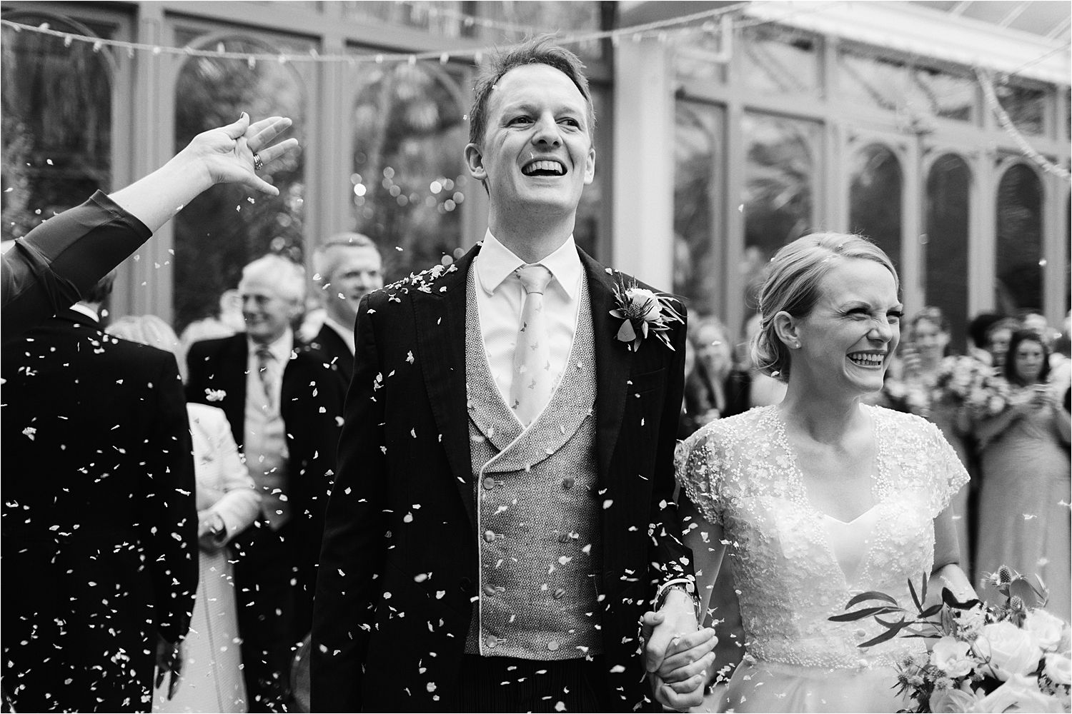 Beautiful indoor confetti picture for rainy North West wedding